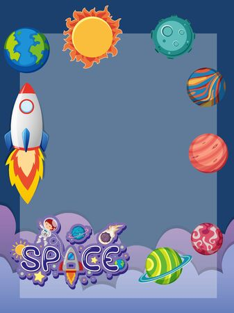 Frame design template with spaceship flying in the space illustration