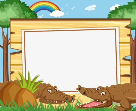 Banner template with brown crocodiles in the park illustration