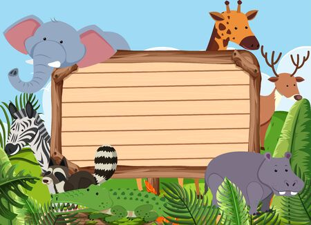 Wooden sign template with many animals in the park illustration