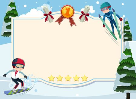 Banner template with people doing winter sports in the snow illustration