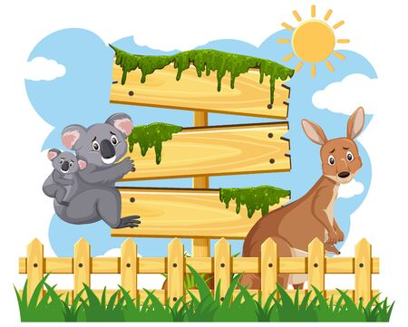 Wooden signs template with Australian animals in the park illustration