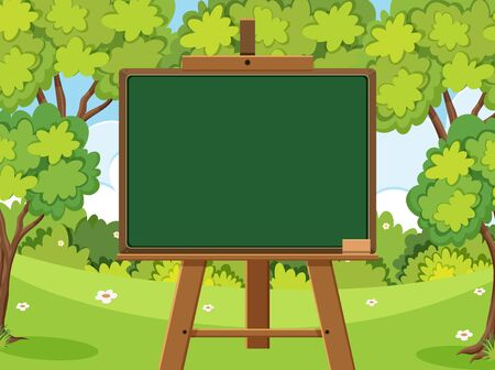 Blackboard template design with many green trees in forest illustration
