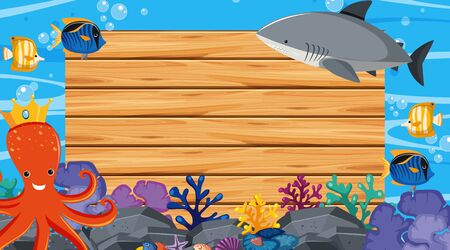 Border template with ocean theme in background illustration