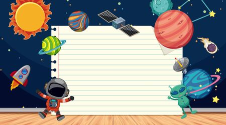 Border template with space theme in background illustration Illustration