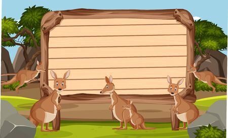 Wooden sign template with kangaroos in the park illustration