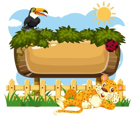 Wooden sign template with toucan and tiger in the park illustration