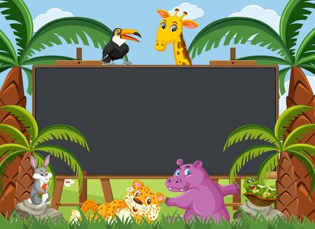 Blackboard template with wild animals in the woods illustration