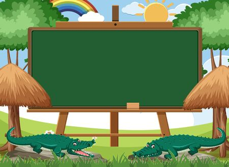 Blackboard template design with two crocodiles in the park illustration