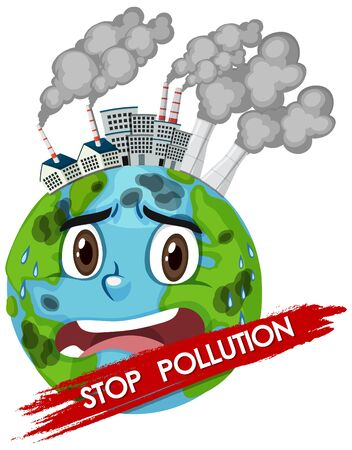 Poster design for stop pollution with world crying illustration