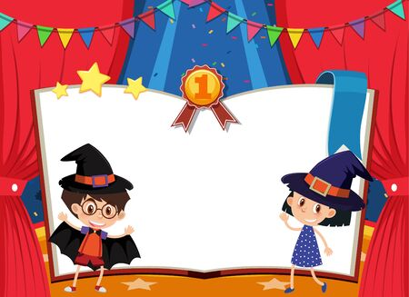 Banner template with boy and girl in costume on stage illustration