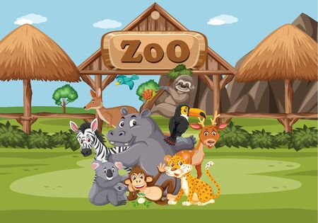 Scene with wild animals in the zoo at day time illustration Иллюстрация