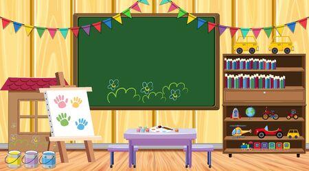 Classroom with chalkboard and bookshelf illustration Illustration