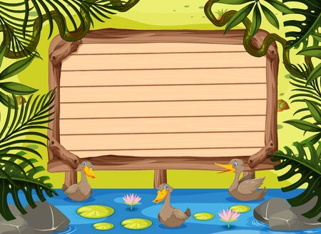 Wooden sign template with ducks swimming in the river illustration