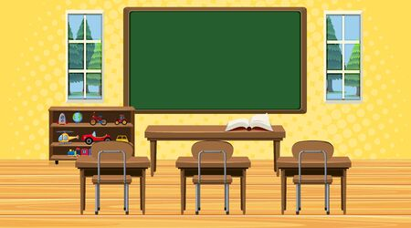 Classroom scene with board and desks illustration