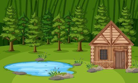 Scene with wooden hut by the pond in the green forest illustration Stock Illustratie