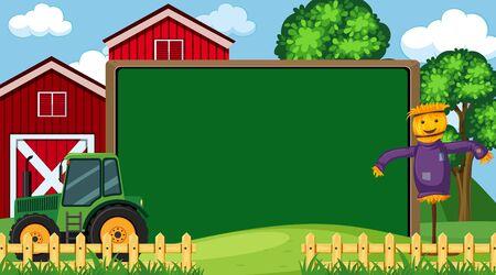 Border template with farm scene in background illustration Illustration