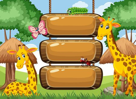 Wooden sign template with giraffes and insects in the park illustration