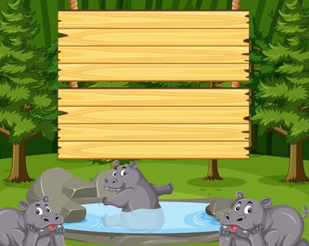 Wooden sign template with cute hippo in the park illustration