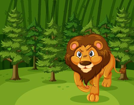 Scene with wild lion walking in the green forest illustration