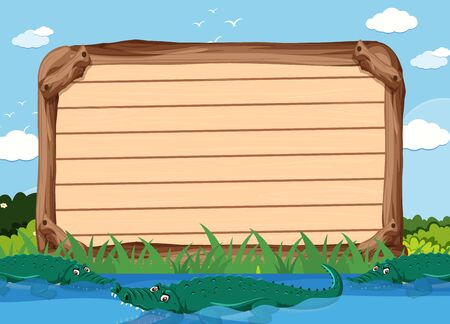 Wooden sign template with crocodiles in the park illustration