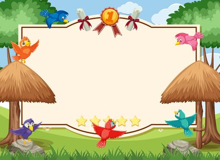 Banner template with birds flying in the park illustration Illustration