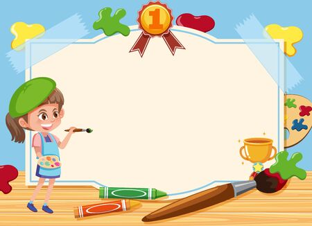 Banner template with girl drawing picture on the board background illustration Illustration