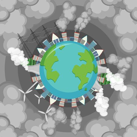 Pollution on earth with dirty smoke coming out factory buildings illustration