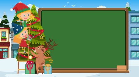 Board template with girls decorating christmas tree illustration Ilustrace
