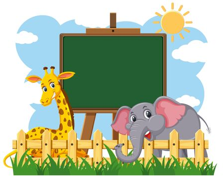 Blackboard template design with giraffe and elephant in the park illustration