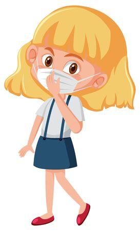 Sick girl wearing mask on white background illustration
