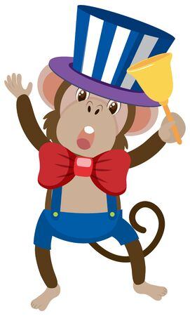 Single character of circus monkey on white background illustration