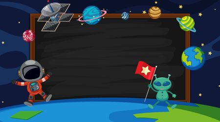 Border template with alien and astronaut in background illustration Illustration