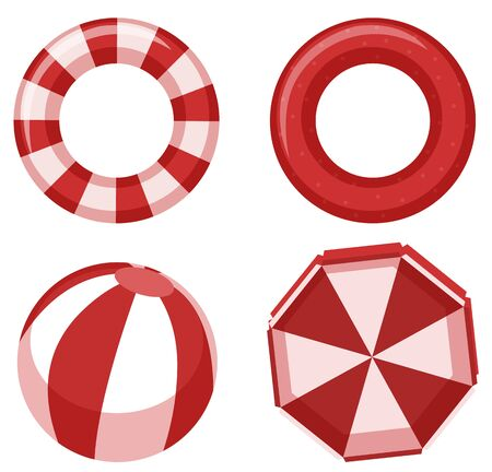 Isolated swimming rings in red color illustration