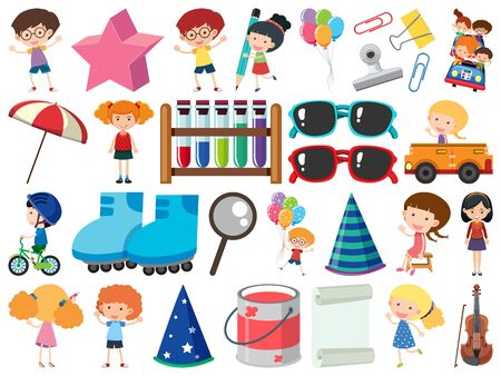 Set of isolated objects theme kids and school items illustration