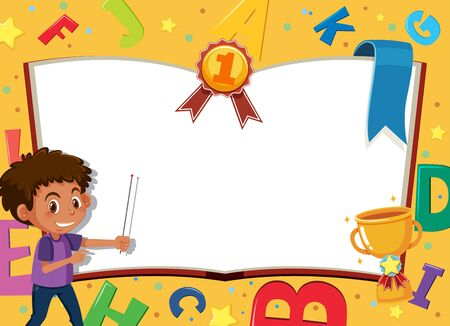 Banner template with happy boy and alphabet design in background illustration Illustration