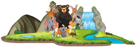 Scene with wild animals standing by the waterfall illustration
