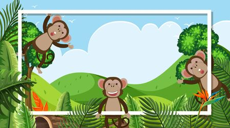Frame design with cute monkeys in the woods background illustration