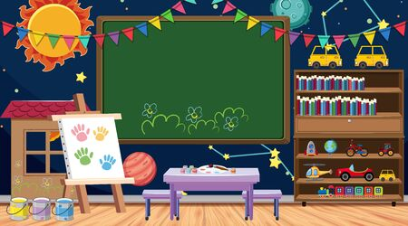 Back to school sign with many school items in classroom illustration