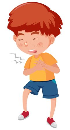 Sick boy with chest pain on white background illustration