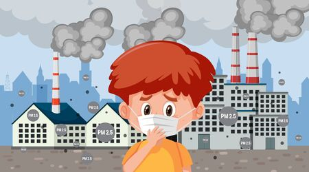 Boy wearing mask in the city with factory smoke illustration