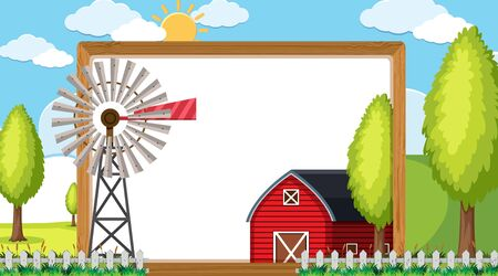 Border template with red barn and windmill illustration