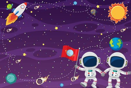 Frame template design with astronauts in the spce background illustration