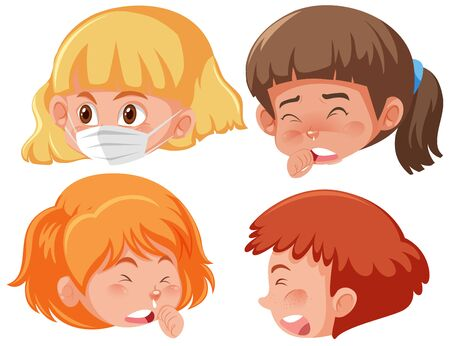 Set of sick children with different symptoms illustration