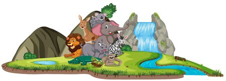 Scene with many wild animals by the waterfall illustration Ilustrace