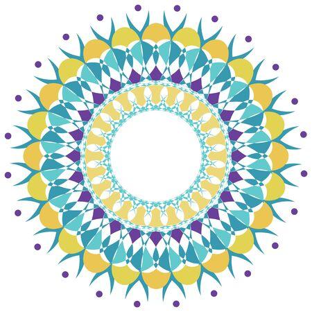 Mandala pattern design in blue and yellow illustration