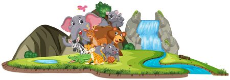 Scene with many wild animals by the waterfall on white background illustration