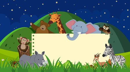Border template with wild animals background illustration