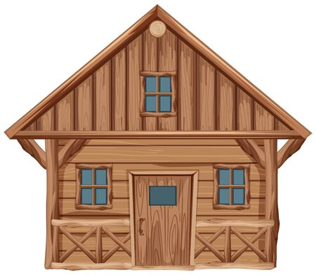Wooden house with door and windows on white background illustration
