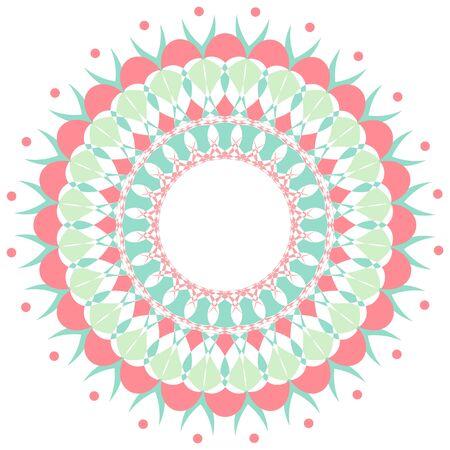 Mandala pattern design in pink and green color illustration Ilustrace