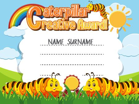 Certificate template for caterpillar creative award with caterpillars in background illustration
